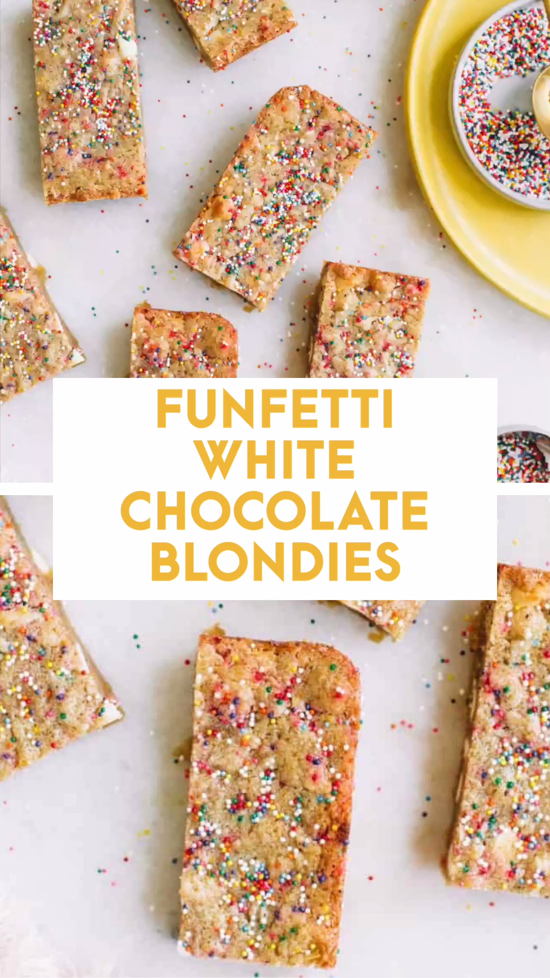 These Funfetti white chocolate blondie bars are a simple, easy rich dessert recipe. Not only are these chewy, gooey brown butter blondies perfect on their own we decided to amp them up with… SPRINKLES! #brownies #blondies #blondebrownies #brownbutter #blonde #sprinkles #funfetti