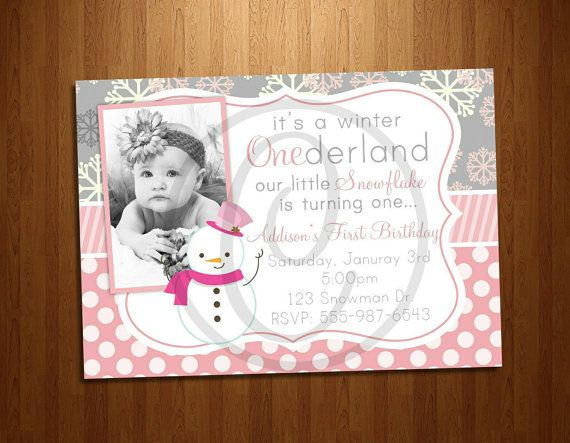 Adorable Pink Winter ONEderland First Birthday Party Invitation ETSY