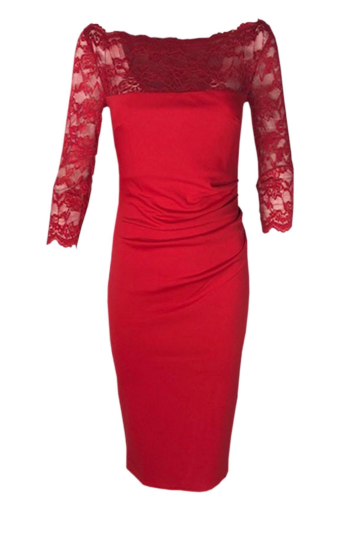 Goddess rød midi kjole med blonde | Kjole, Kjoler