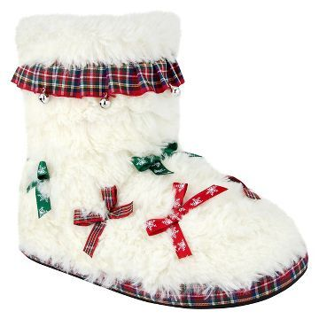 Women's Ugly Christmas Slipper™ Bows and Bells Bootie Slippers ...