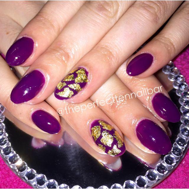Purple, gold foil, nail art, gel polish, acrylic nails | The Perfect ...