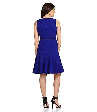 Calvin Klein Belted FitandFlare Dress #Dillards
