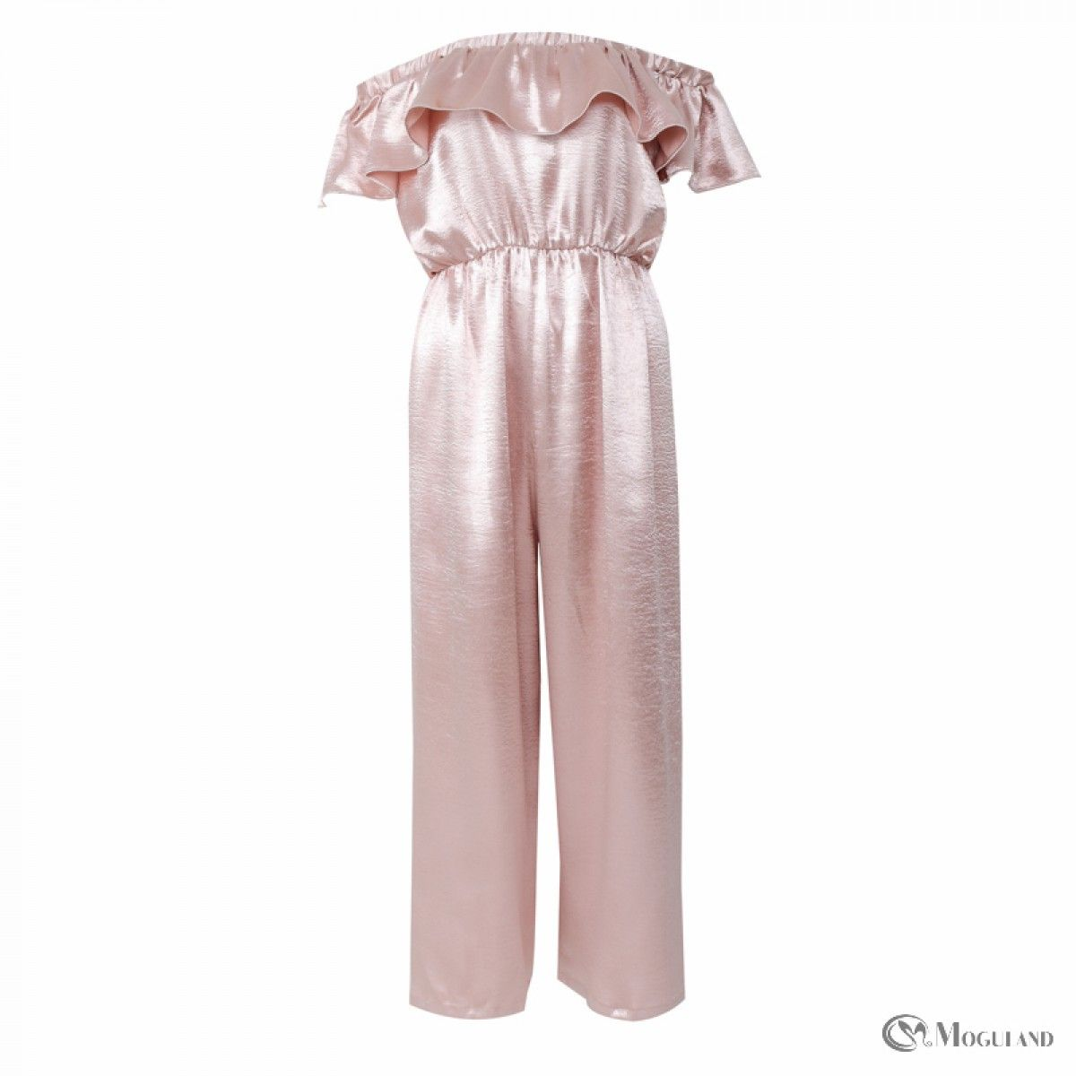 12c7dd491b Ladies pink satin flounce off the shoulder jumpsuit wholesale - playsuits  jumpsuits