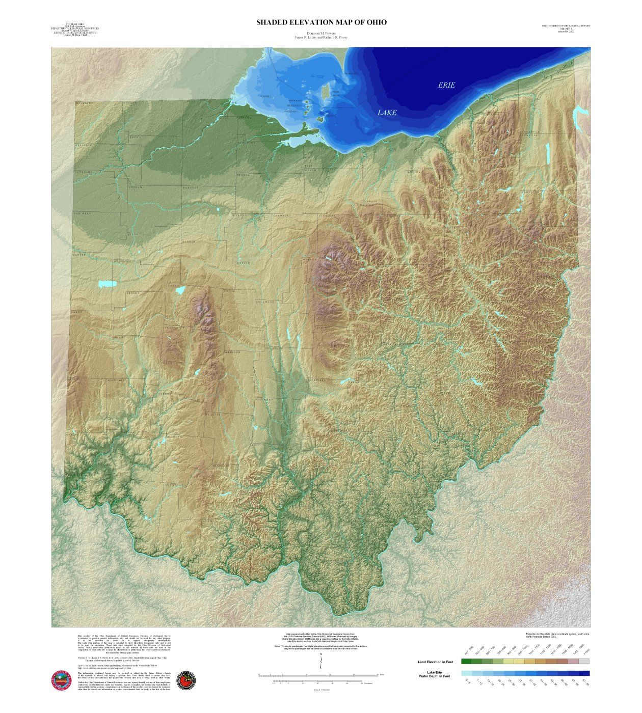 High Contrast Elevation Map of Ohio Geography Pinterest Ohio