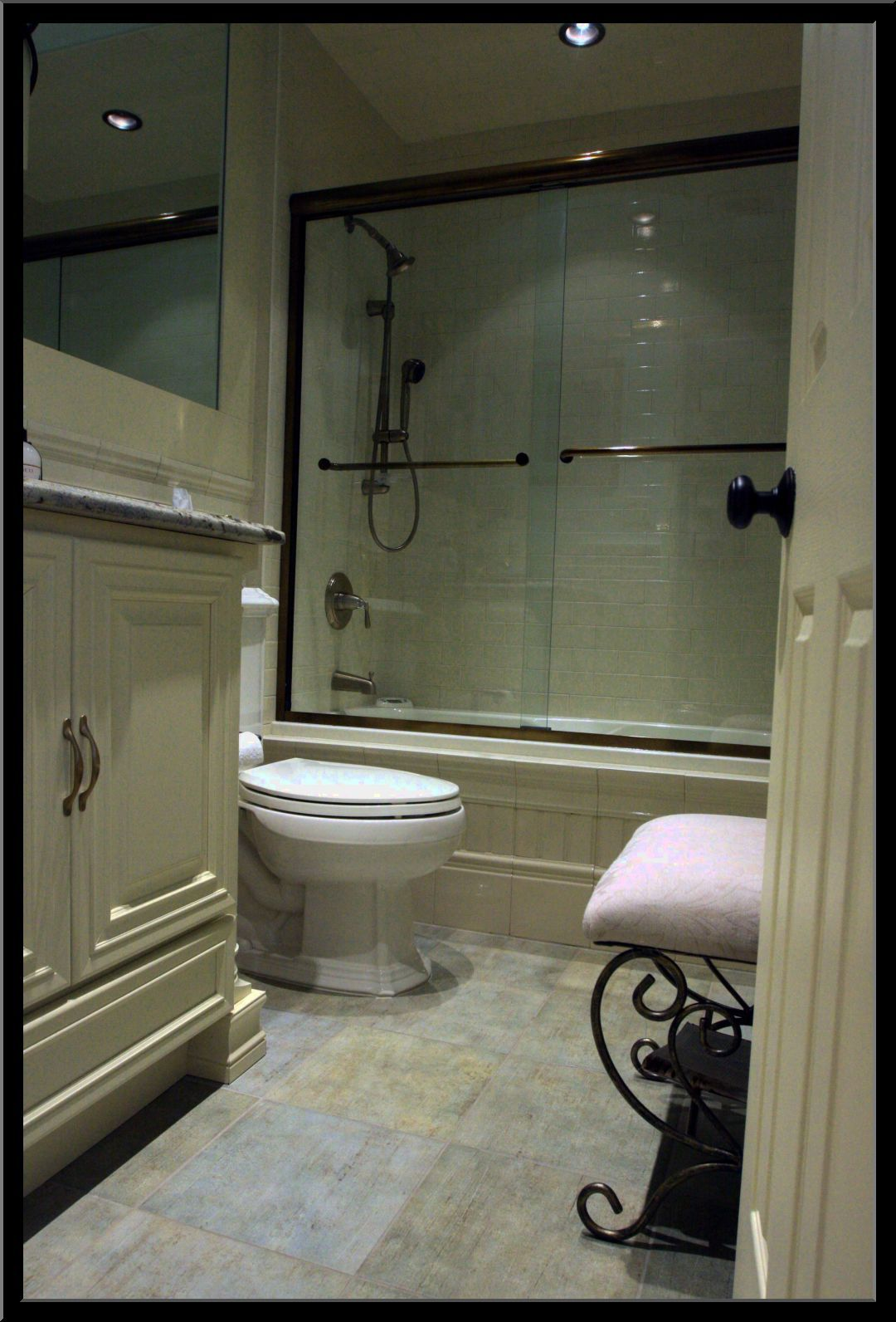 Bon ... Wooden Vanities Bath Also Cool White Seat Antique Chair And Great Free  Standing Chrome Bathtub Head Shower In Modern White Small Master Bathroom  Ideas