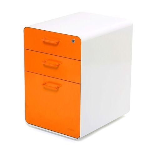 White + Orange West 18th 3 Drawer File Cabinet | Modern Office Furniture |  Poppin