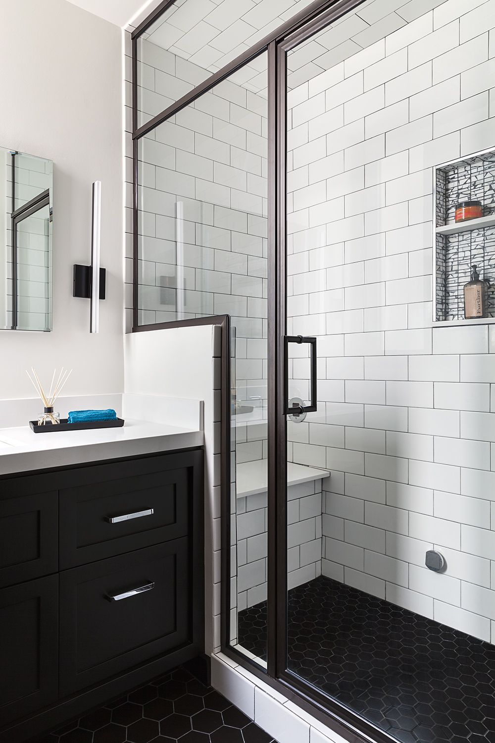 san francisco bathroom remodel steam shower black hex floor tiles white subway tiles