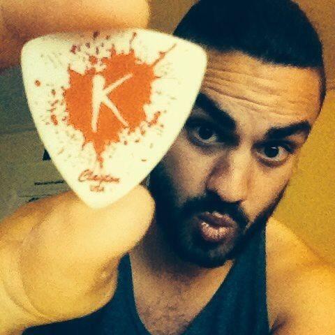 Custom guitar picks for Kitt Hawes-Webb of Ugly Love from ClaytonCustom.com