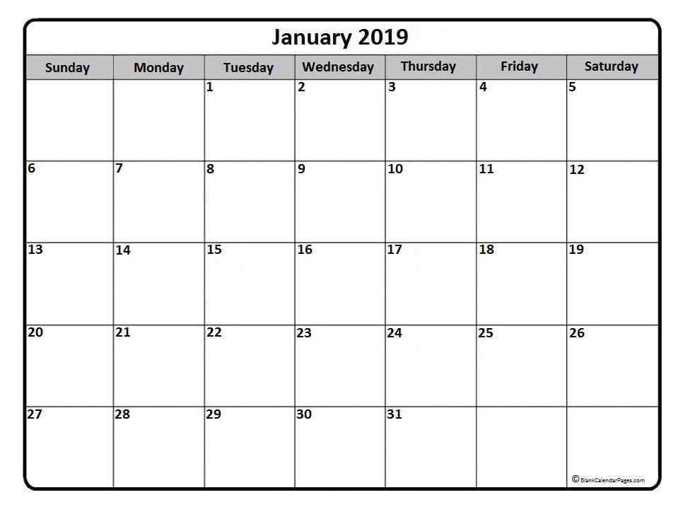 January Calendar Printable January 2019 Monthly Calendar