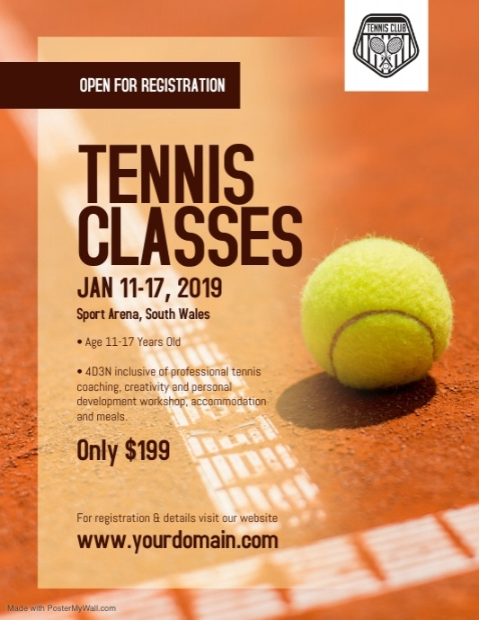Tennis Classes Coaching Camp Flyer Poster Postermywall Tennis Tennis Posters Sport Poster