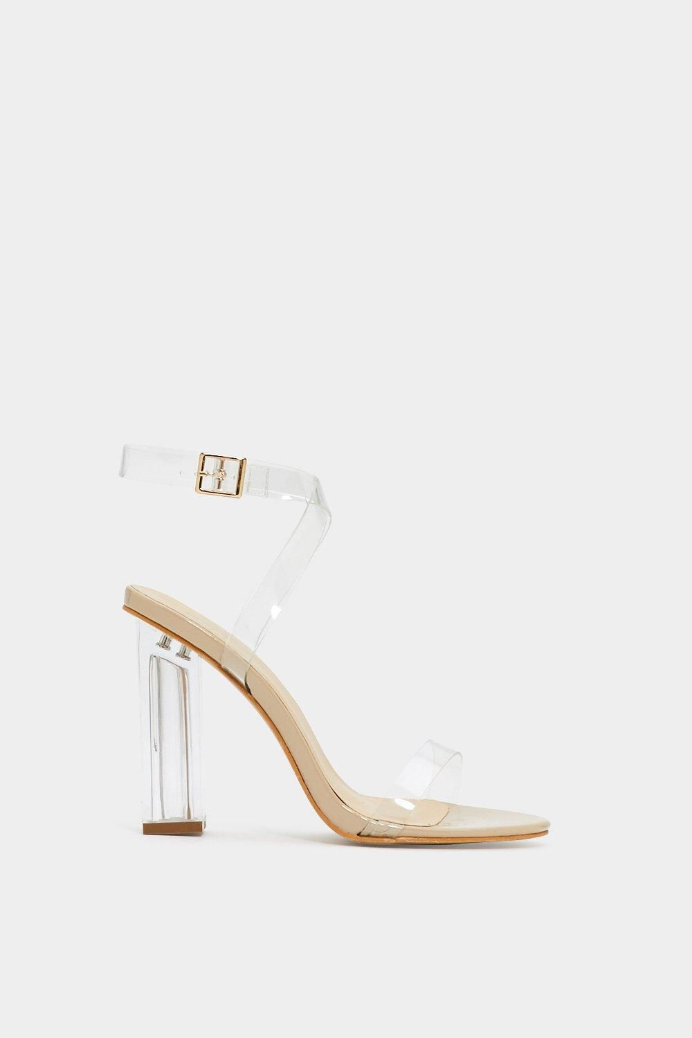 60f48789a8a0 Clear things up. The Let s Be Clear Heel features a lucite block heel