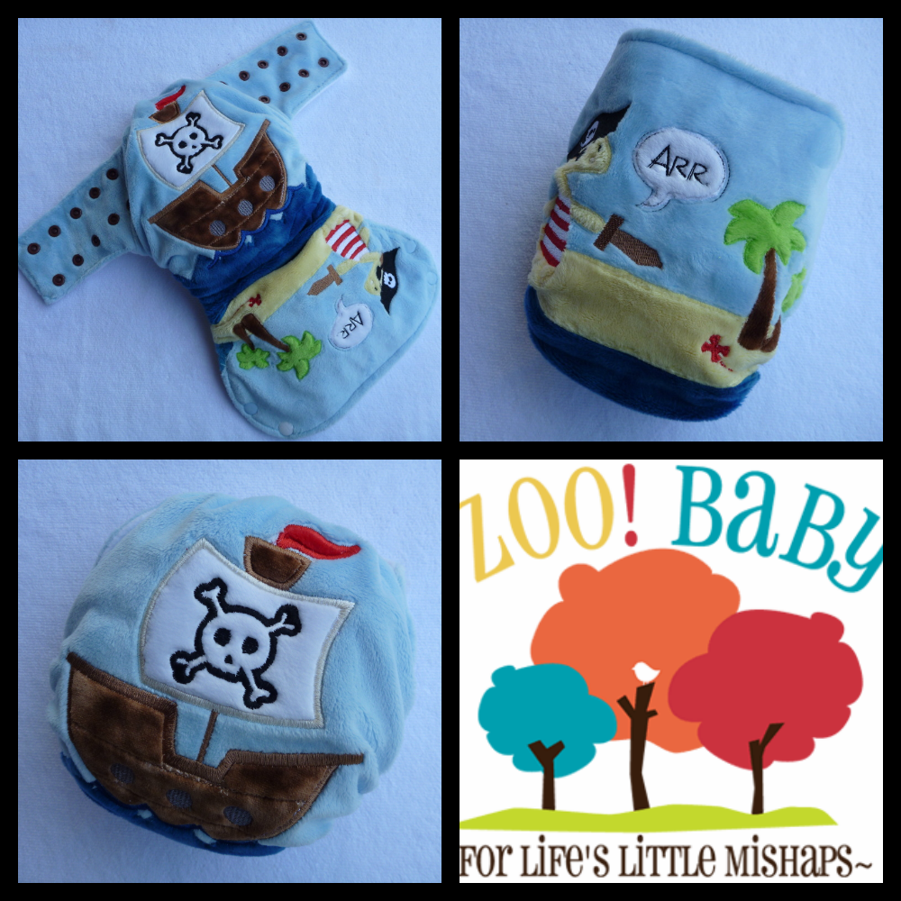 Zoo! Baby Modern Cloth Nappy. Great Baby Gift Ideas. Cute Pirate Ship and Pirate.....Arrr!