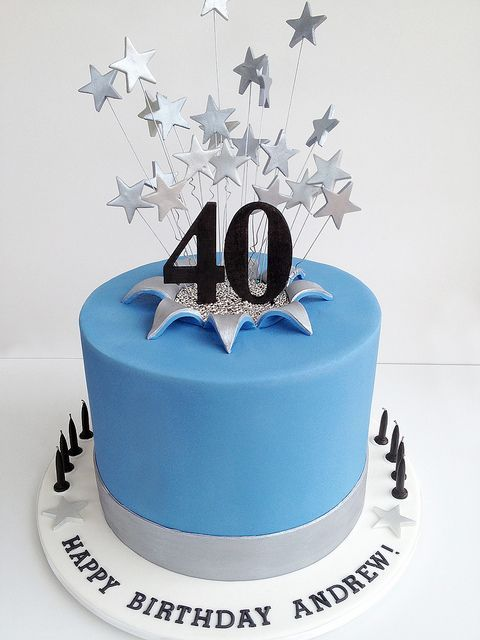 Tremendous 40Th Starburst Cake 40Th Birthday Cakes 40Th Birthday Cakes For Funny Birthday Cards Online Overcheapnameinfo