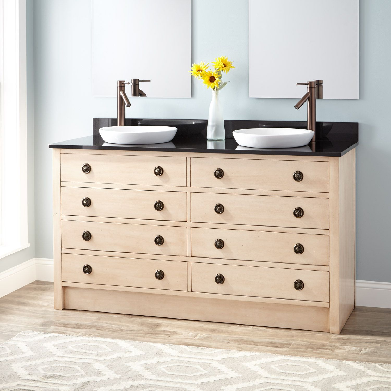 "60"" Thornwood Double Vanity for Semi-Recessed Sinks - Antique White"