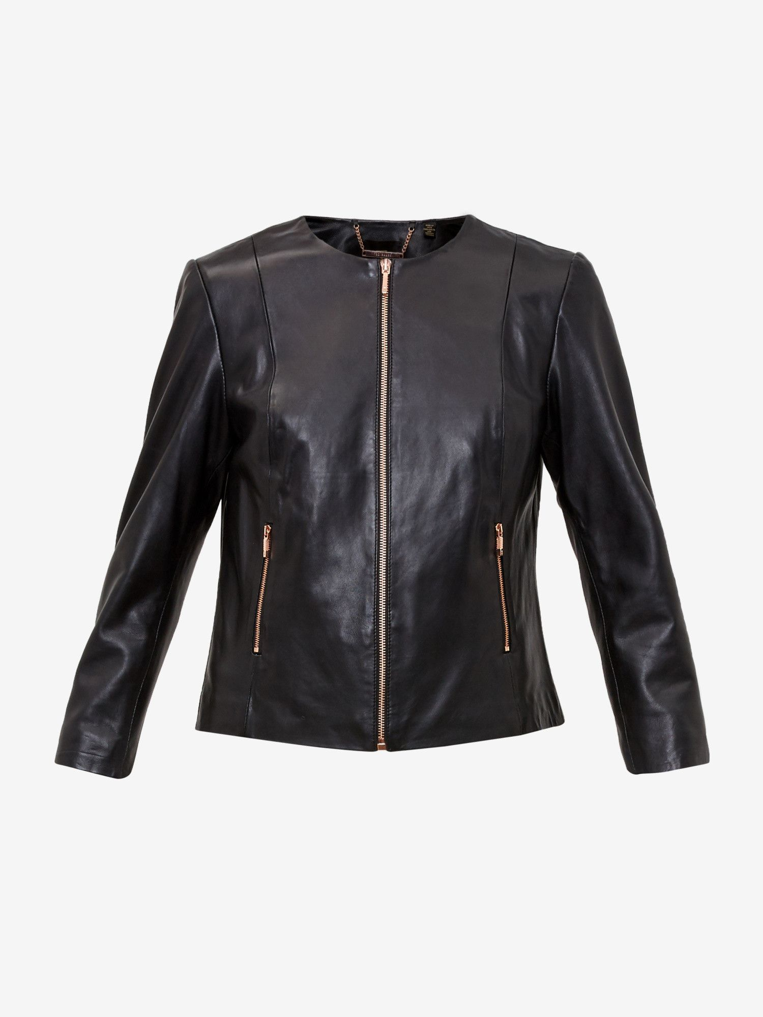 Collarless Leather Jacket Black Jackets And Coats Ted Baker Uk Leather Jacket Collarless Leather Jacket Leather Jacket Black [ 2000 x 1500 Pixel ]