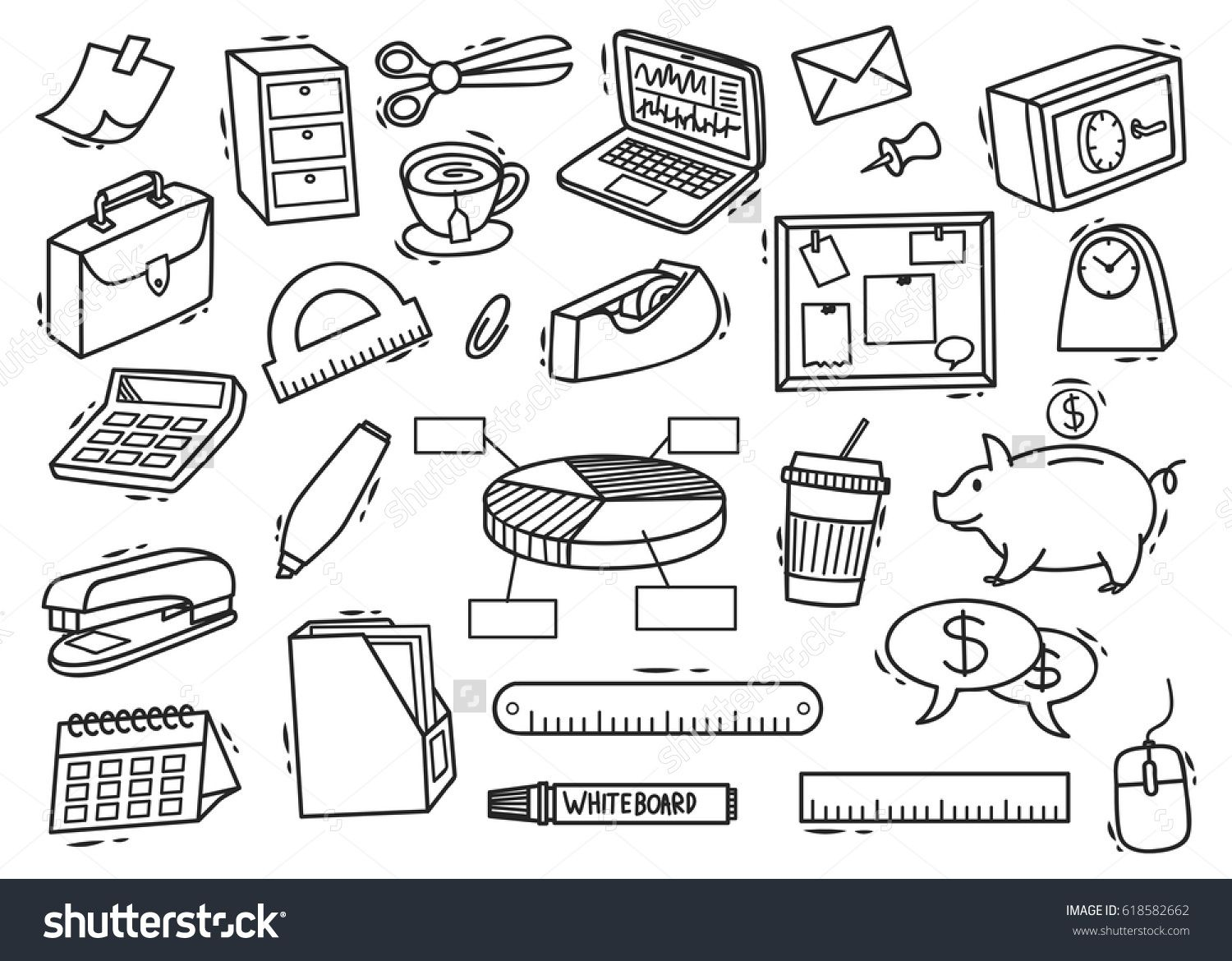 Set Of Office Supplies Doodle In White