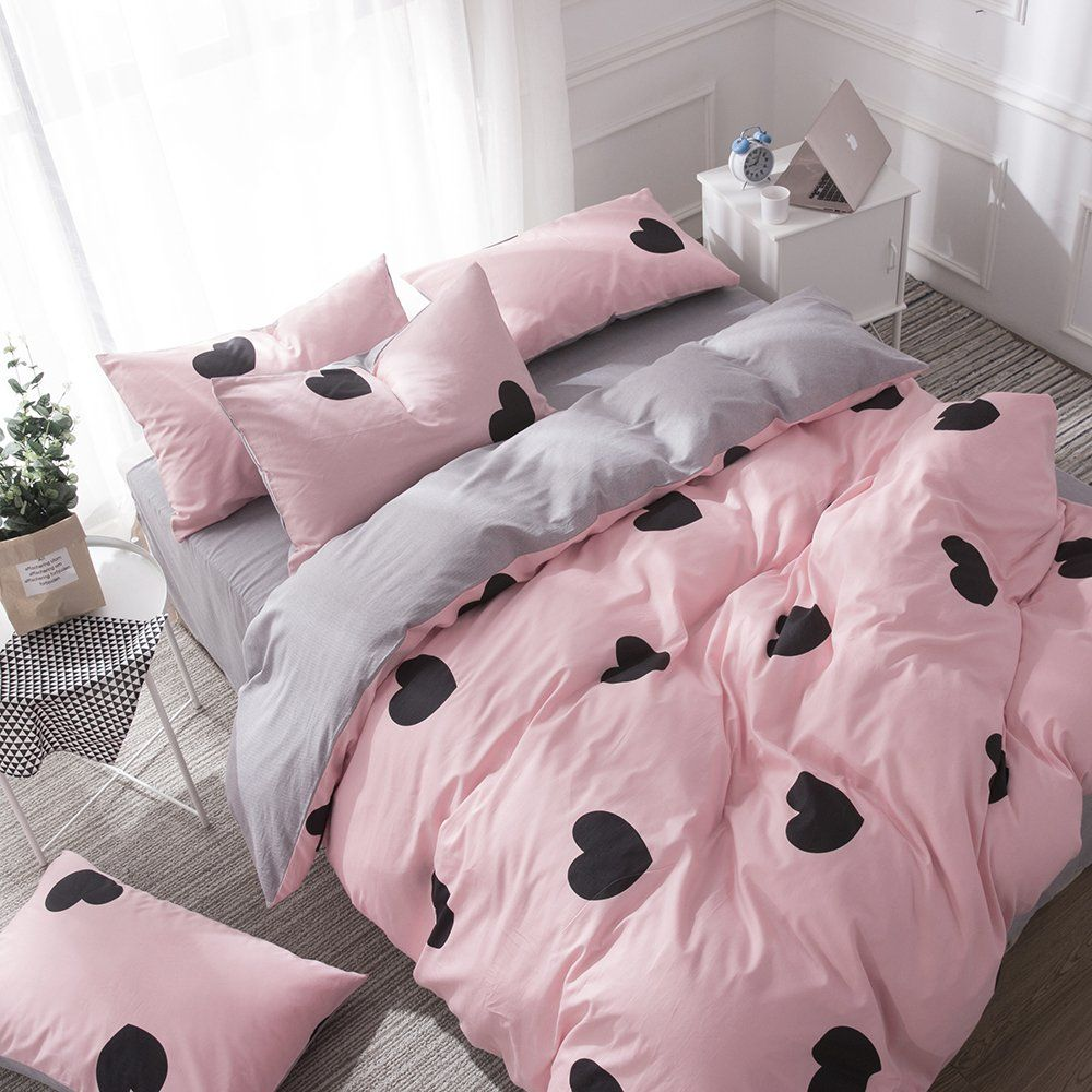 Otob Heart Love Bedding Twin Duvet Cover Set Cotton 100 Reversible Cartoon Bedding Set 3 Piece With 2 Pi King Size Bedding Sets Bedding Sets Queen Bedding Sets