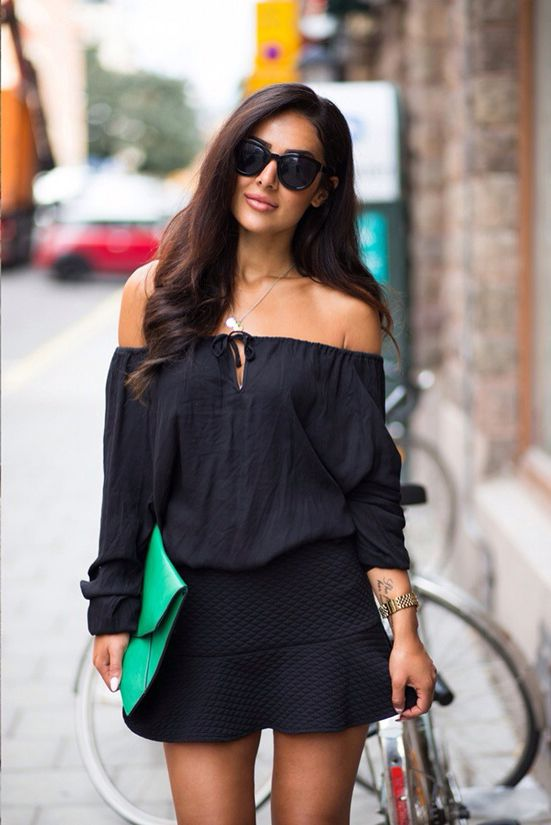 388b4bb6c Sharareh Sophia is wearing a black off the shoulder top and skirt from  BikBok, bag from Aahlens