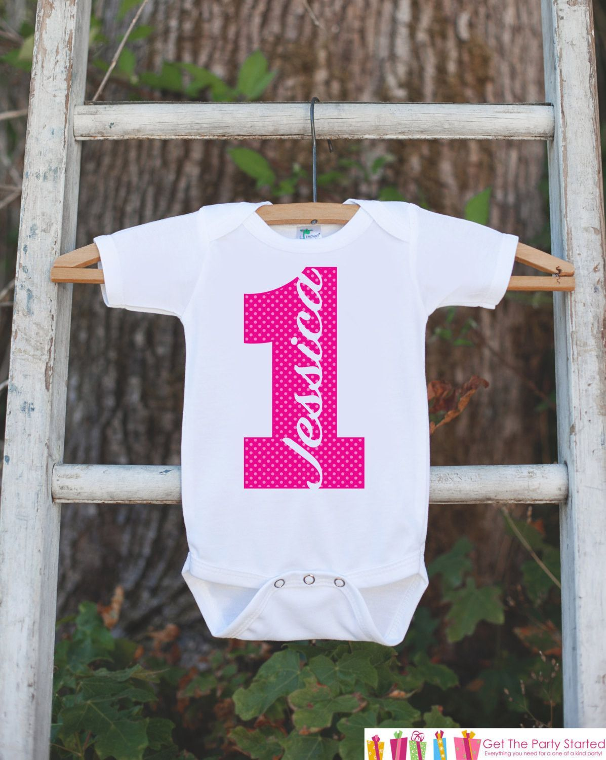 22ddf010 First Birthday Outfit - Personalized Onepiece For Girl's 1st Birthday Party  - Girls Birthday Shirt - Hot Pink 1 First Birthday With Name