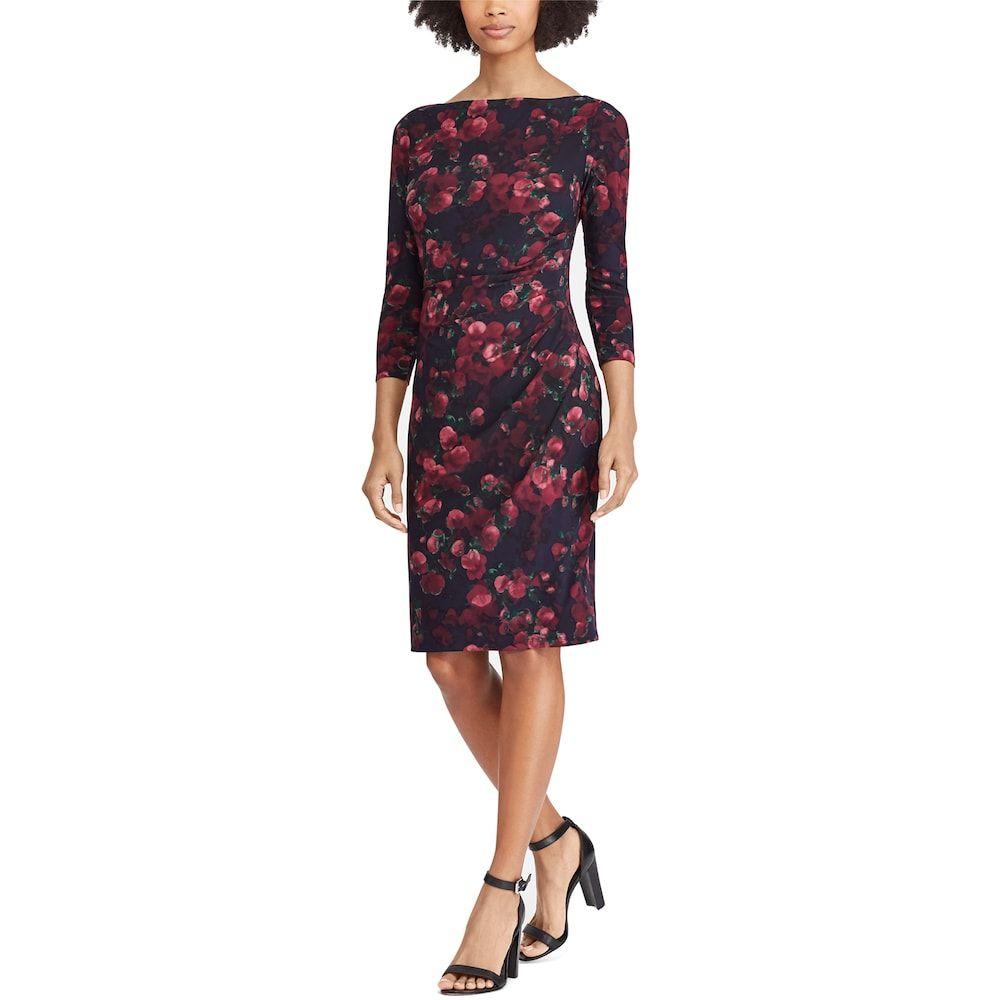 44828c47a3f Women s Chaps Floral Ruched Sheath Dress