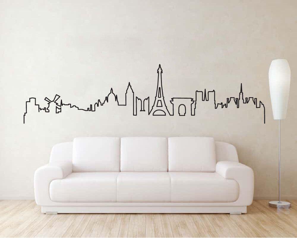 Paris Skyline Wall Sticker, Paris Skyline Decal, Paris ...
