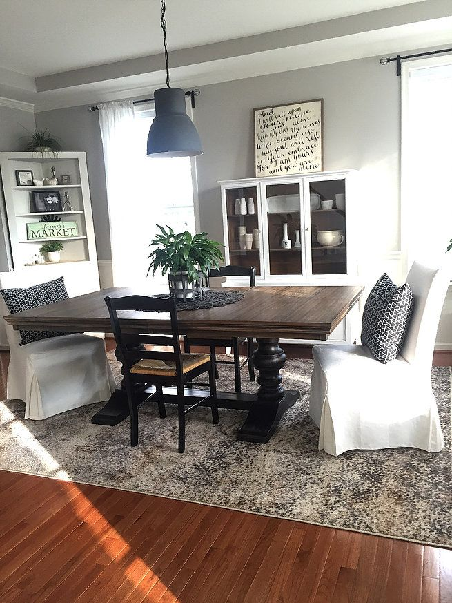 Rug Homegoods; Table Ashleyfurniture; White chairs and