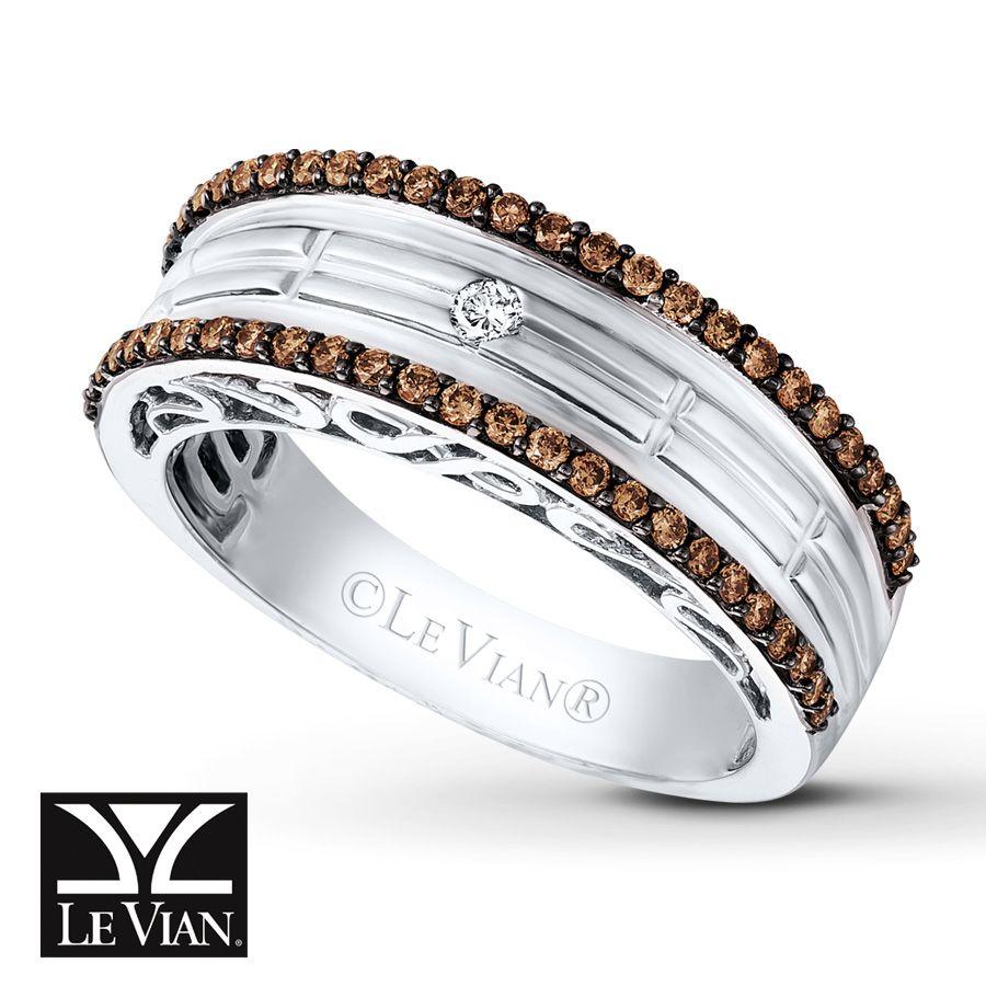 LeVian Chocolate Diamonds 12 ct tw Mens Band in 14K Vanilla Gold