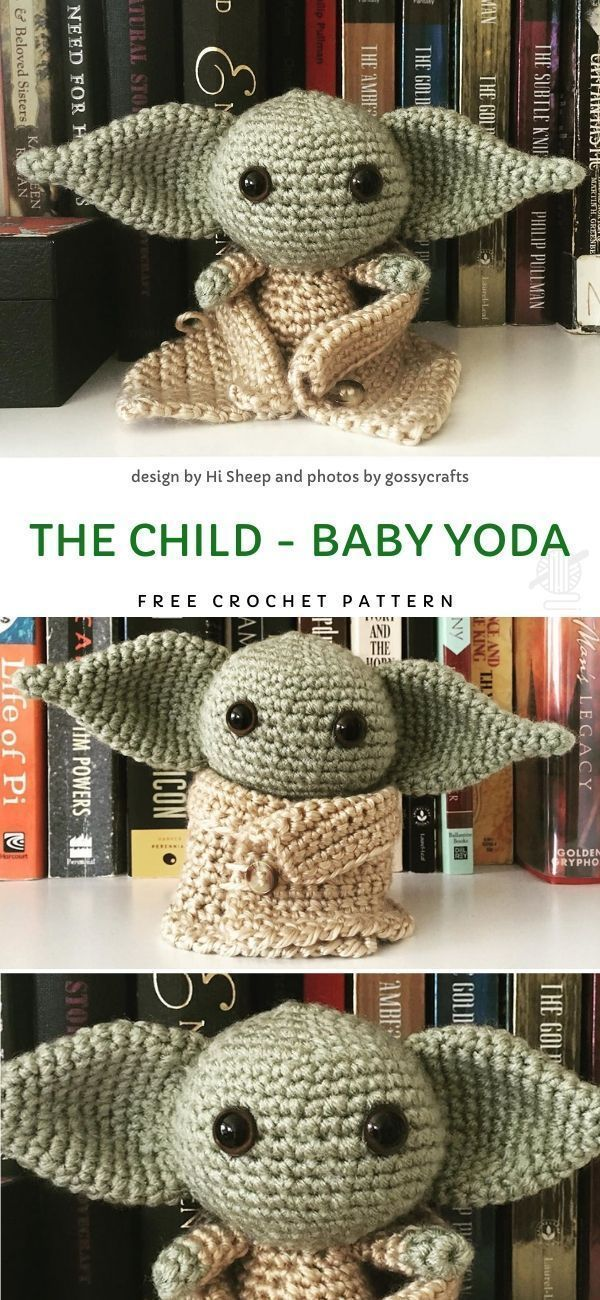 #Baby #Child #Crochet #Free #Pattern #Yoda Movie Character Amigurumi Ideas. Dies