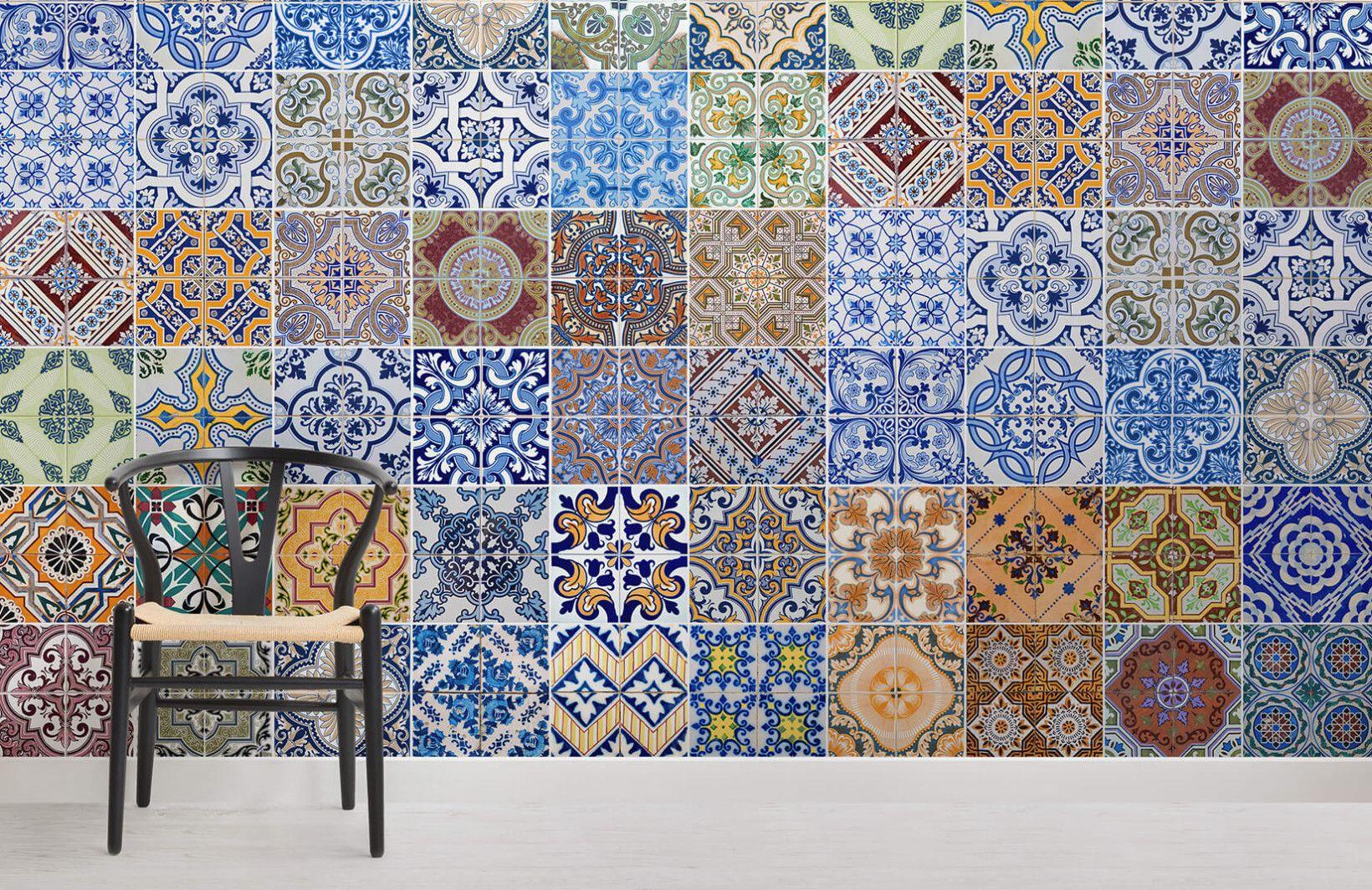 Patterned Tile Wallpaper Mural Tile wallpaper, Tile