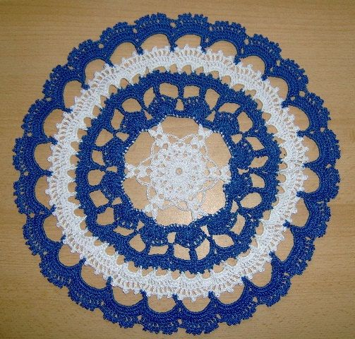 Кnitted Doily. Beautiful round blue-white knitted doily.   My ...