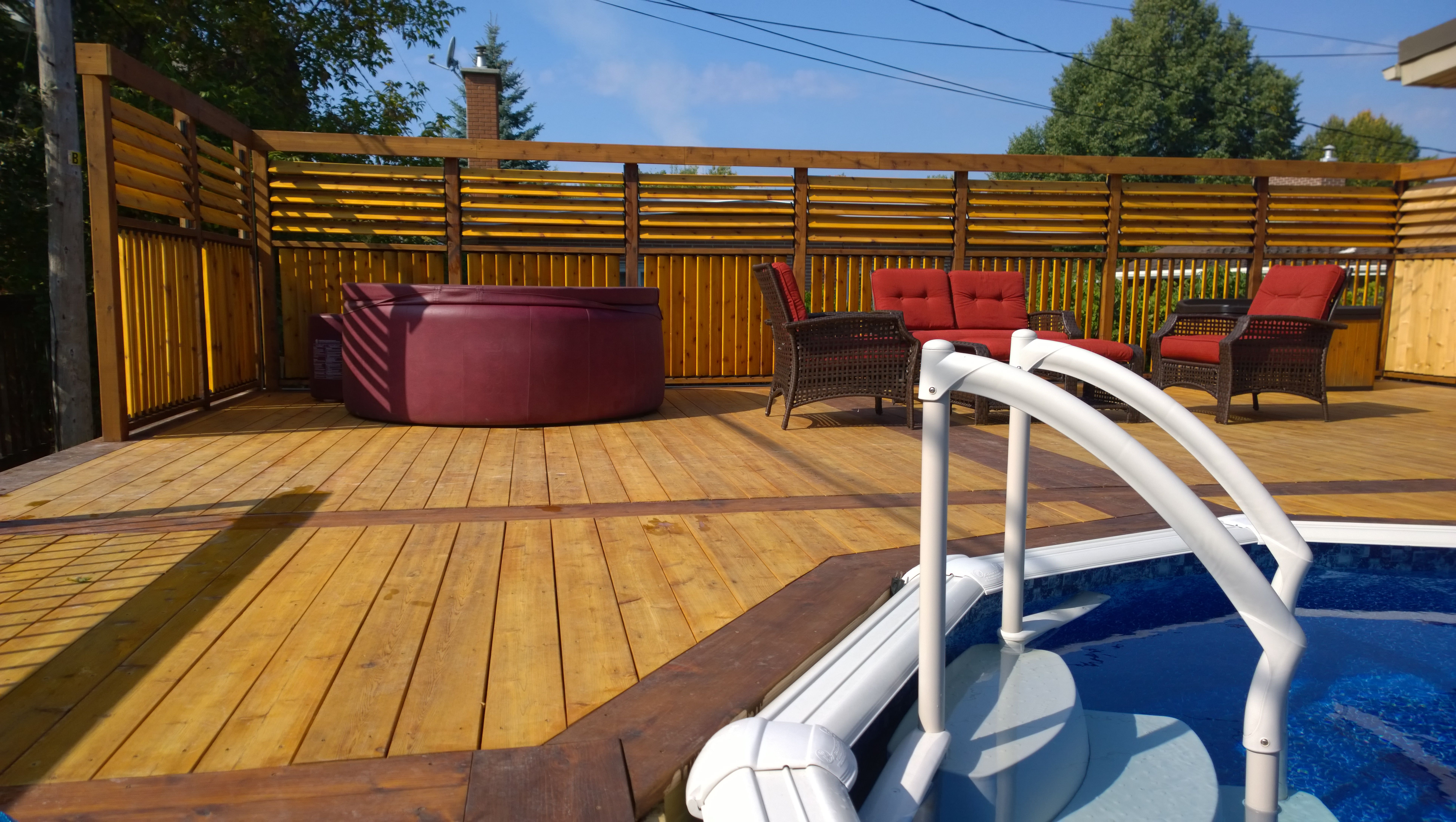 beautiful louvered fence with extra privacythe poolside