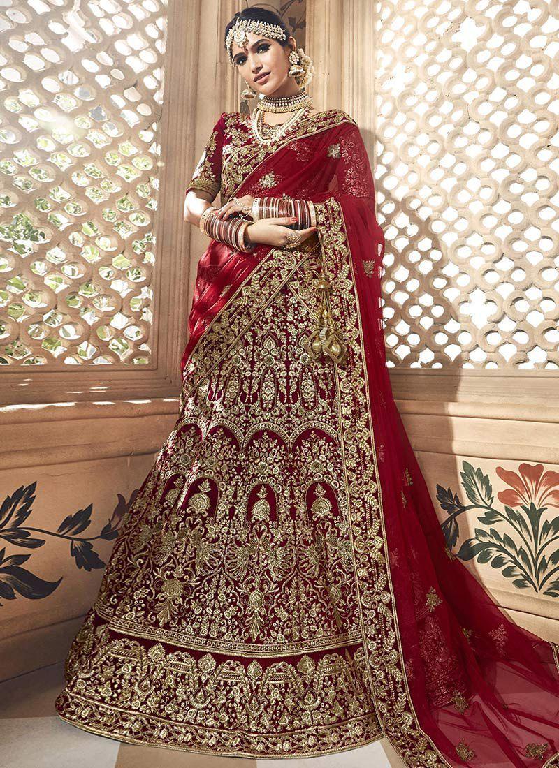 a9cf03e838 Dark maroon velvet embroidered heavy designer Indian wedding lehenga choli  4702