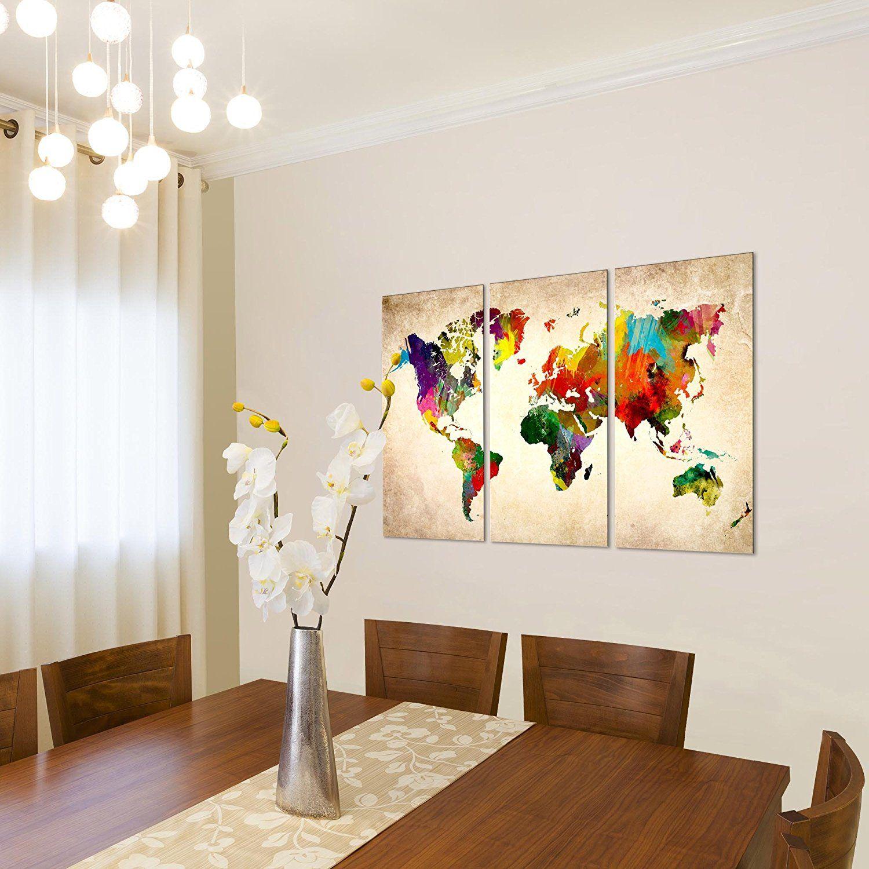 Kunstdrucke Leinwand bilder 120 x 80 cm weltkarte bild vlies leinwand kunstdrucke