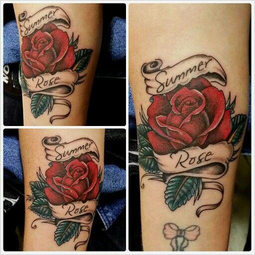 Rose And Scroll Tattoo By Me New Tatoo Designs Tattoos Scroll