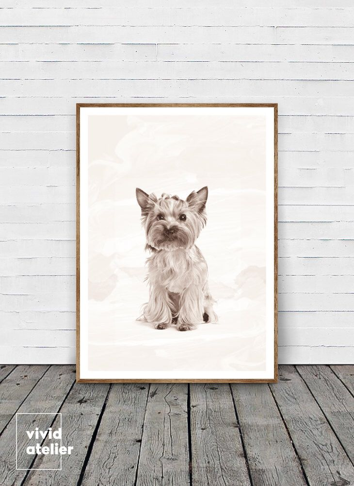 Yorkshire terrier print gift dog print puppy modern minimalist black and white animal print printable art photo cute nursery print yorkshire
