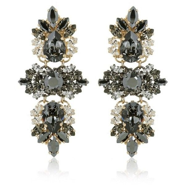 Anton Heunis Crystal Cluster Drop Earrings Glossy Black in gold,... ($285) ❤ liked on Polyvore featuring jewelry, earrings, gold, gold drop earrings, swarovski crystal earrings, chain drop earrings, gold jewelry and yellow gold earrings