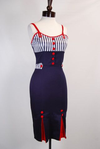 The USO Pin Up Dress. A sexy bombshell dress inspired by patriotic pin up images.
