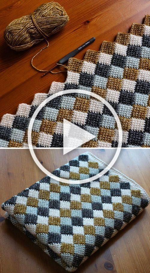 Entrelac Blanket  Free Crochet Pattern Beautiful Skills  Crochet Knitting Quilting  Harry  Sewing skills