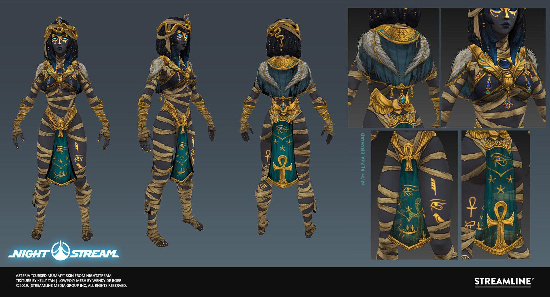 Nightstream Asteria Cursed Mummy Texture By Kelly Tanmade As A Halloween Skin Last Year Handpainted Texture Without Highpoly Texture Asteria Hand Painted