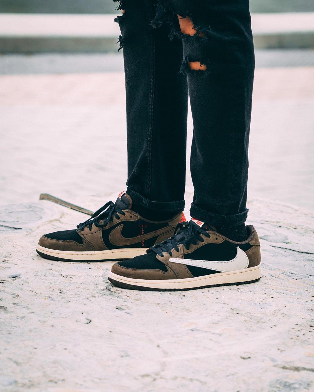 On Feet With Travis Scott S Air Jordan 1 Low Sneaker Accompanied