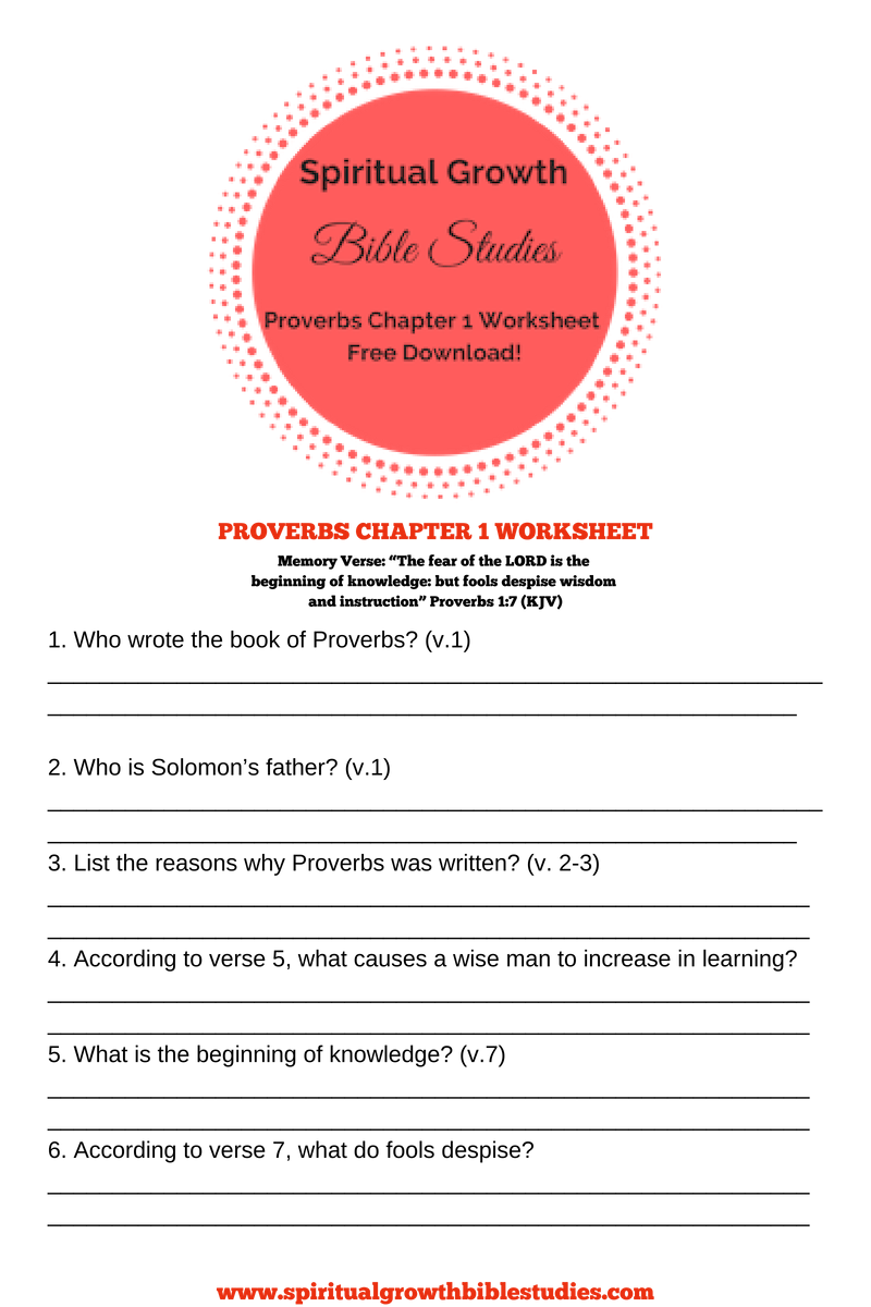 Proverbs Free Bible Study Worksheets-Chapter 1-31 | Proverbs Bible