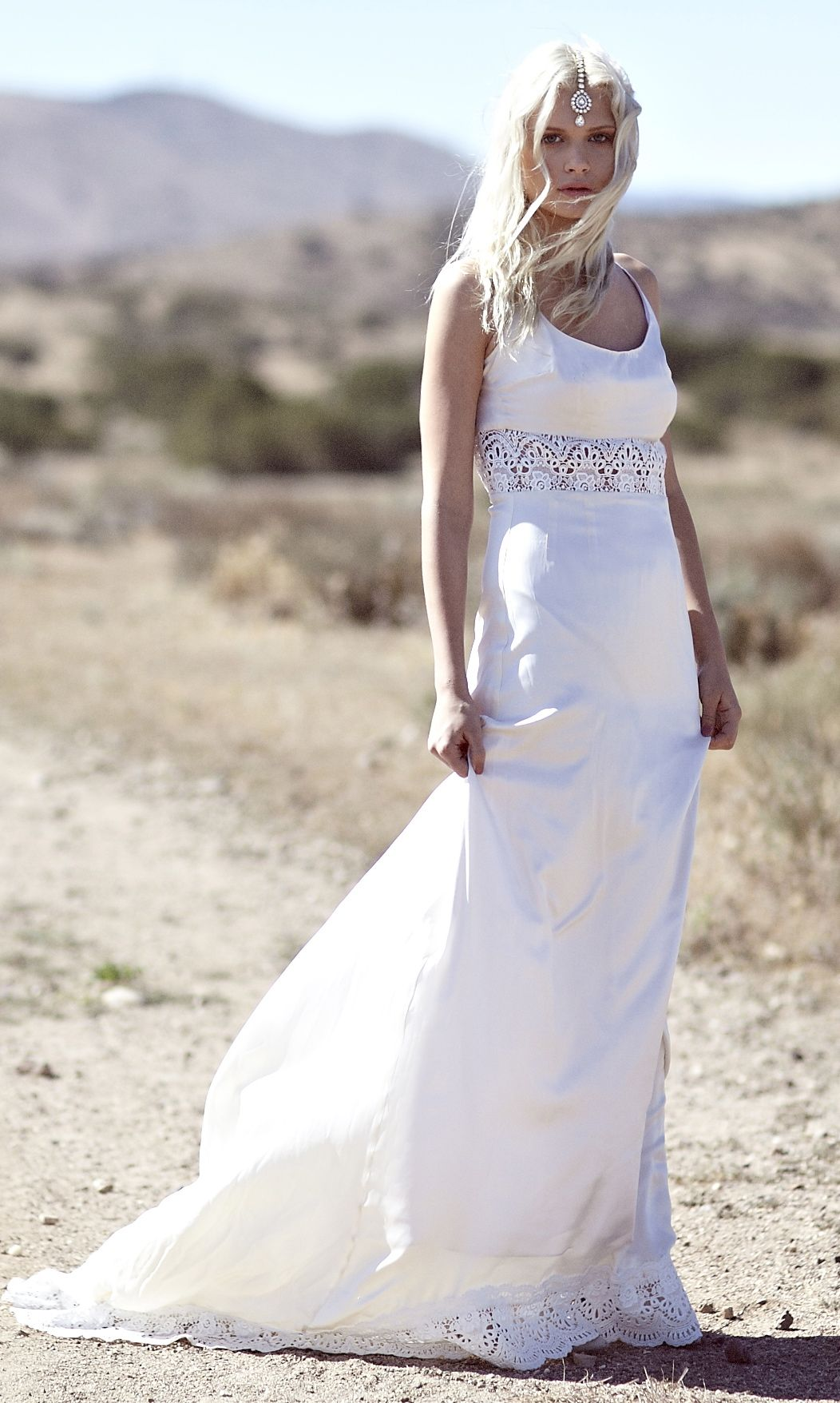 Ivory silk and lace wedding dress  Dean  DAUGHTERS OF SIMONE  Pinterest  Indie wedding dress Hippy