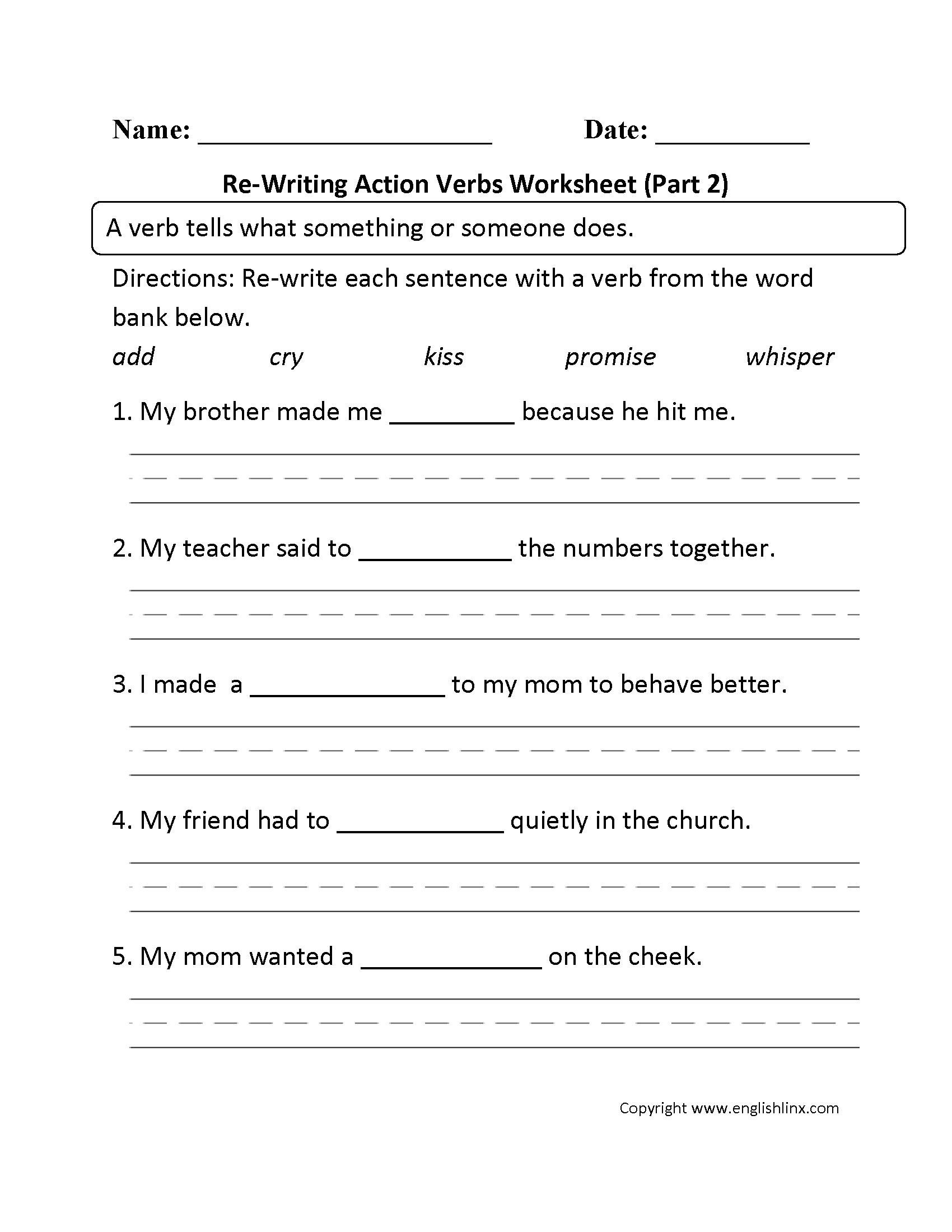 Re-Writing Action Verbs Worksheet Part 2   Action verbs worksheet [ 2200 x 1700 Pixel ]
