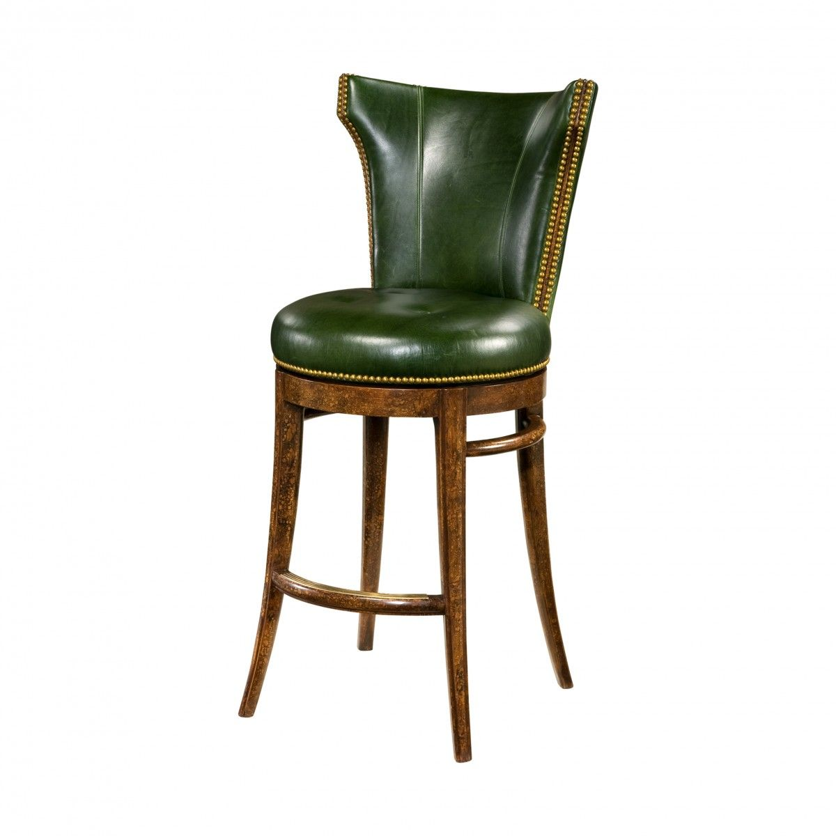 Green leather and mahogany bar stool