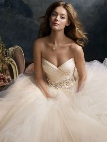 blush romantic tulle ball bridal gown floral jewel band
