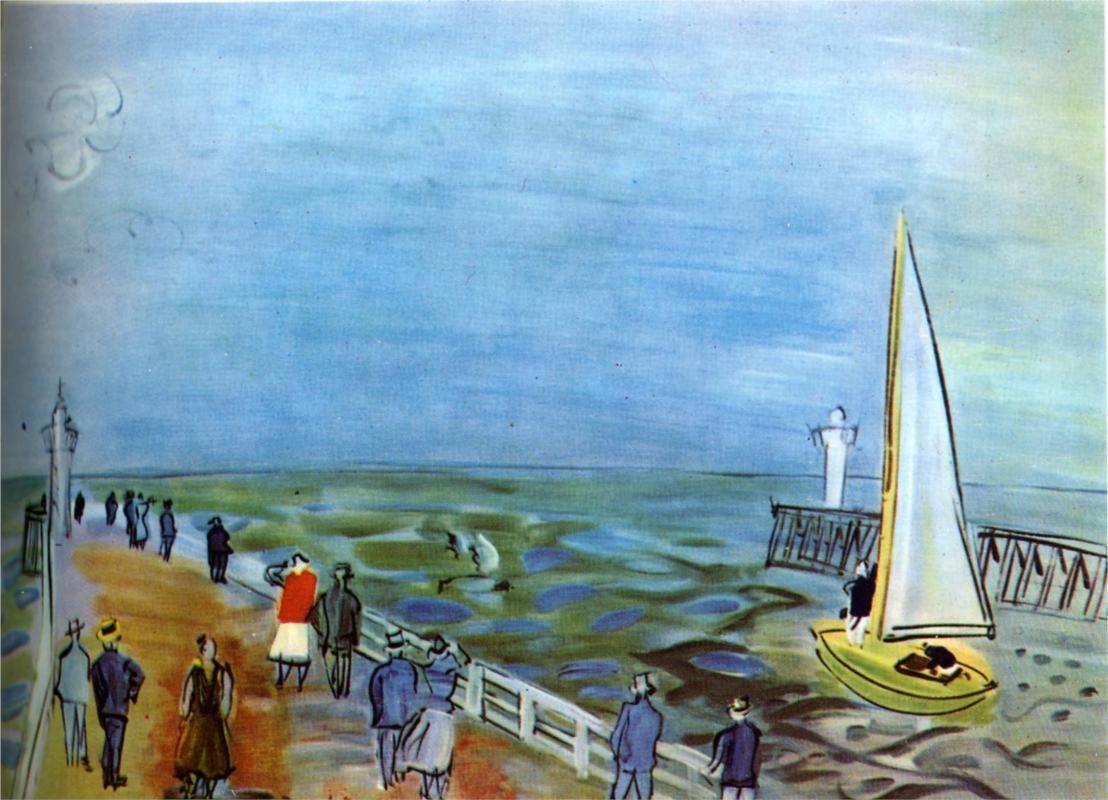 The sea in Deauville, 1935-Raoul Dufy - by style - Naïve Art (Primitivism)