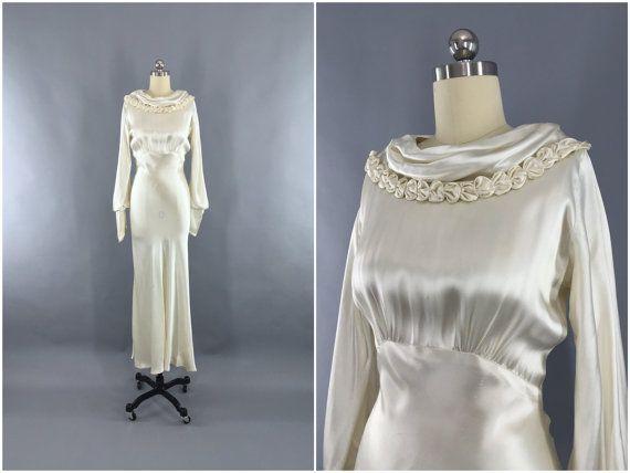 Vintage 1930s Wedding Dress / 30s Bias Cut Dress / 1930 Art Deco ...