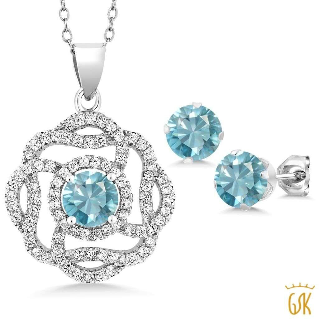 ct round blue zircon sterling silver pendant earrings set