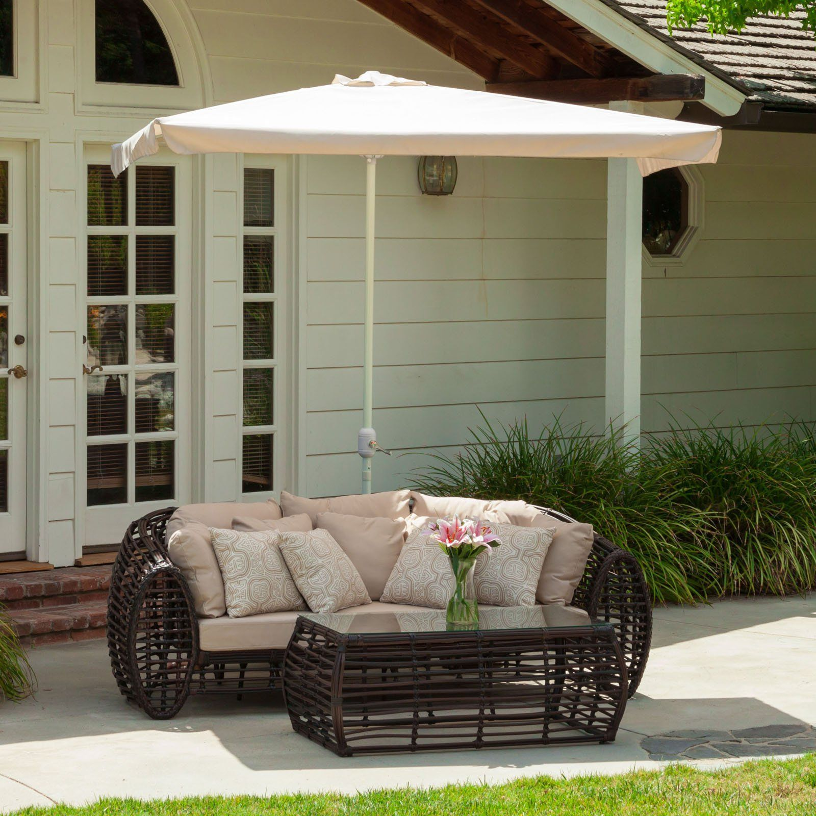 The Nogales half sun canopy makes a perfect shade solution for you and your guests. Add this canopy to any outdoor patio area to immediately give you and ... & Have to have it. Catalpa Half Sun 7.5 ft. Umbrella with Base ...