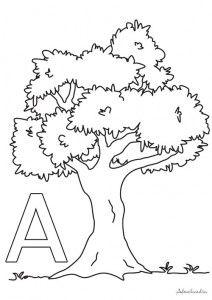 Un Frondoso árbol Letra A Hojas Para Colorear Tree Study